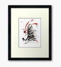 Samurai sword black white red strokes bushido katana martial arts sumi-e original fight ink painting artwork Framed Print