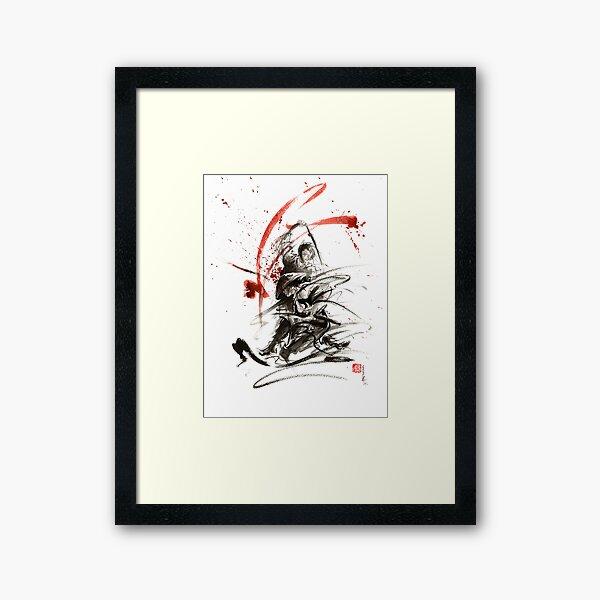 Samurai sword black white red strokes bushido katana martial arts sumi-e original fight ink painting artwork Framed Art Print