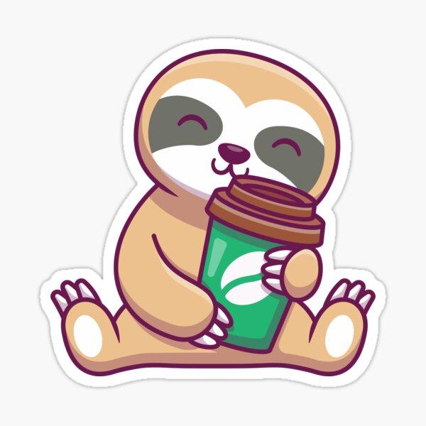 Cute sloth with coffee cartoon Sticker