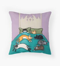 Bed Time with Cats Throw Pillow