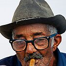 Old Cuban man & cigar, Trinidad, Cuba by David Carton