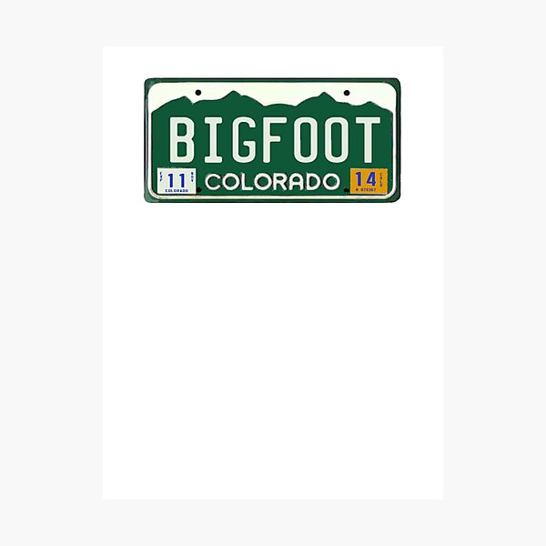 Bigfoot Colorado License Plate  Photographic Print