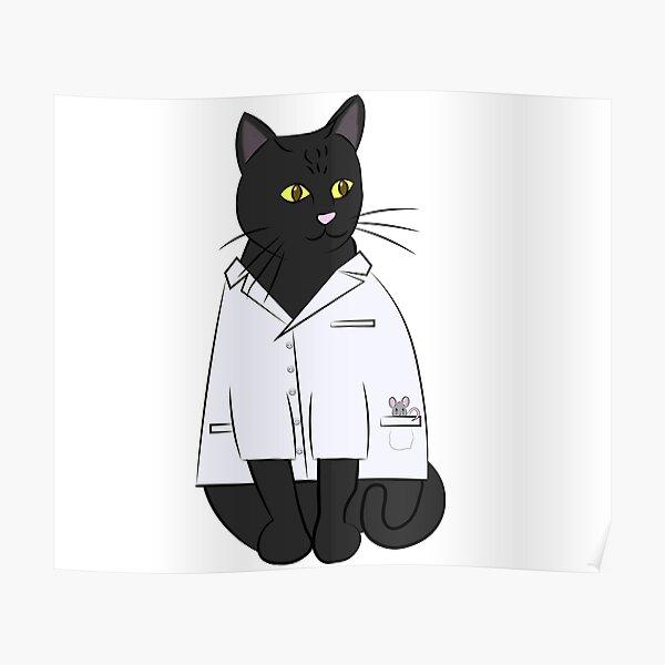 Black Lab Cat Poster