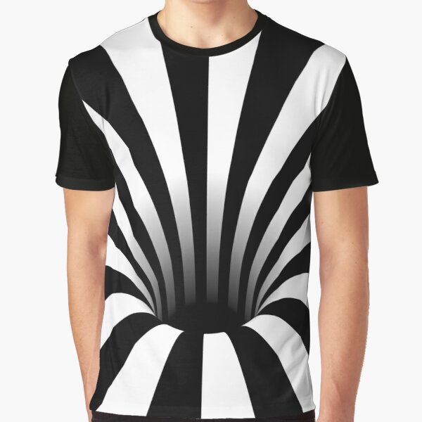 Optical Illusion Black Hole Lines (Black/White) Graphic T-Shirt