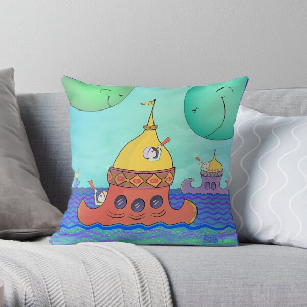 Curious Planets Throw Pillow