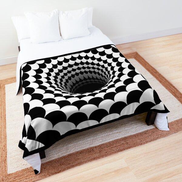 Optical Illusion Black Hole Scales (Black/White) Comforter