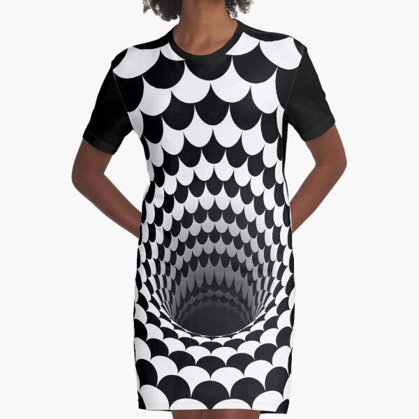 Optical Illusion Black Hole Scales (Black/White) Graphic T-Shirt Dress