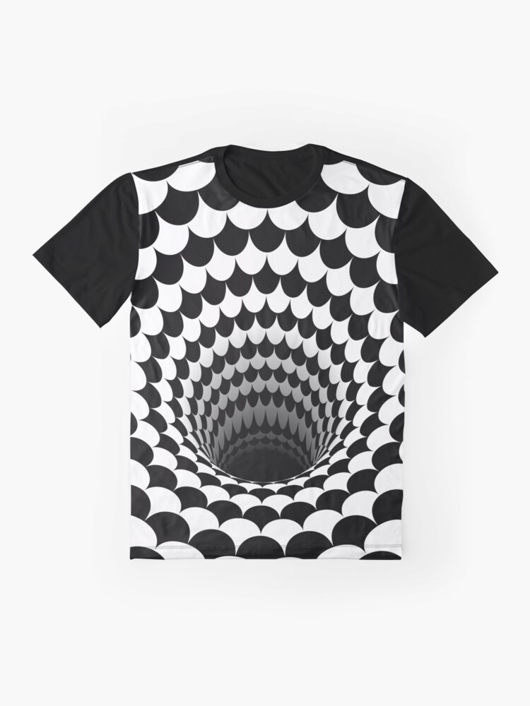 Alternate view of Optical Illusion Black Hole Scales (Black/White) Graphic T-Shirt