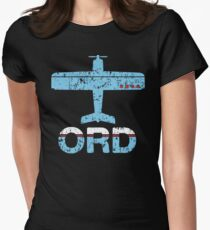 Fly Chicago ORD Airport Womens Fitted T-Shirt