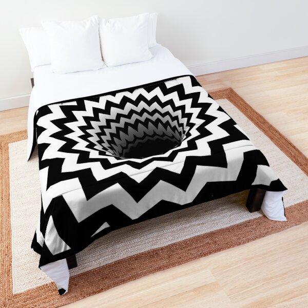 Optical Illusion Black Hole Chevron (Black/White) Comforter