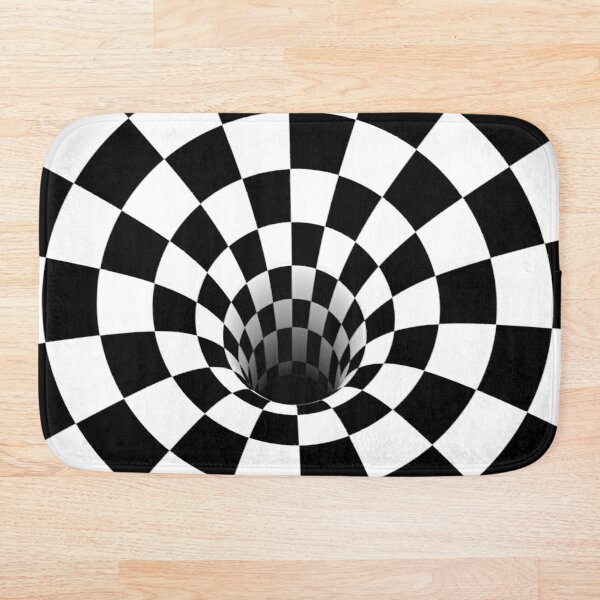 Optical Illusion Black Hole Checkerboard (Black/White) Bath Mat
