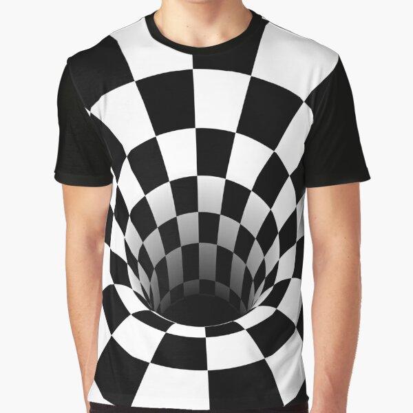 Optical Illusion Black Hole Checkerboard (Black/White) Graphic T-Shirt