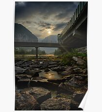 Sunrise over the river in a valley in the Alps with bridge landscape color photography wall art - Uomo e natura Poster