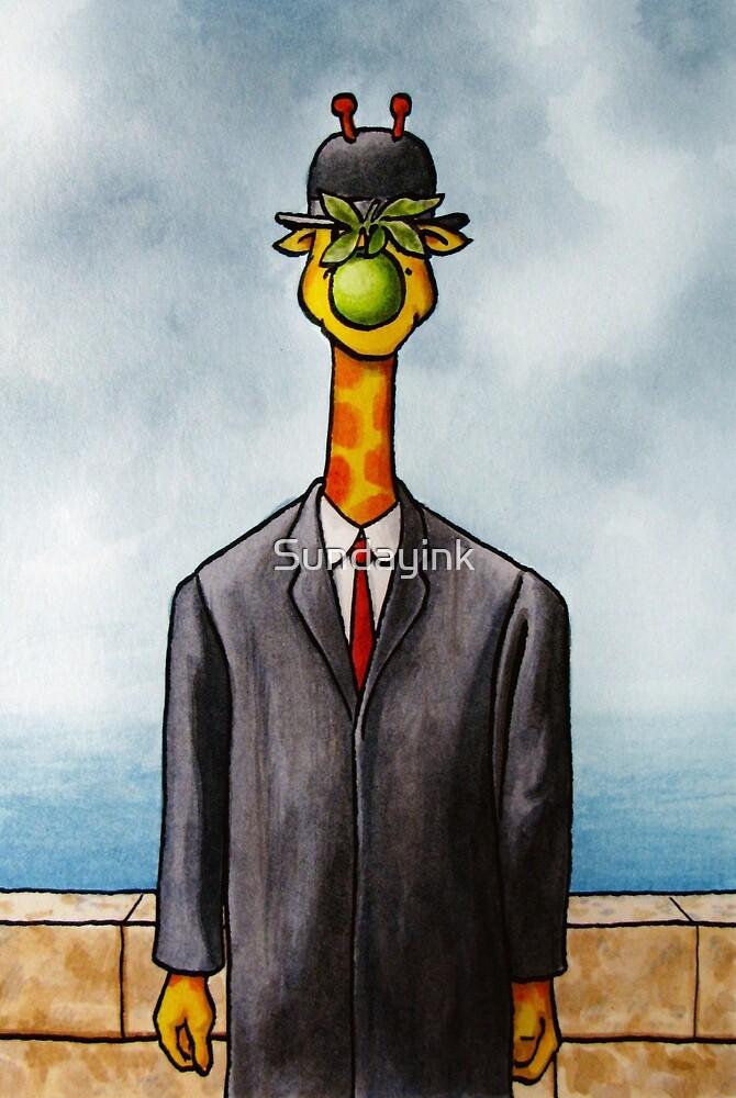 Art Giraffe- The Son of Man by Sundayink