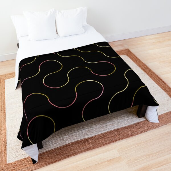 Excitedly Inoffensive Mercury (neon outlines on black) Comforter