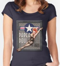 """""""Paper Doll"""" WWII Nose Art Women's Fitted Scoop T-Shirt"""
