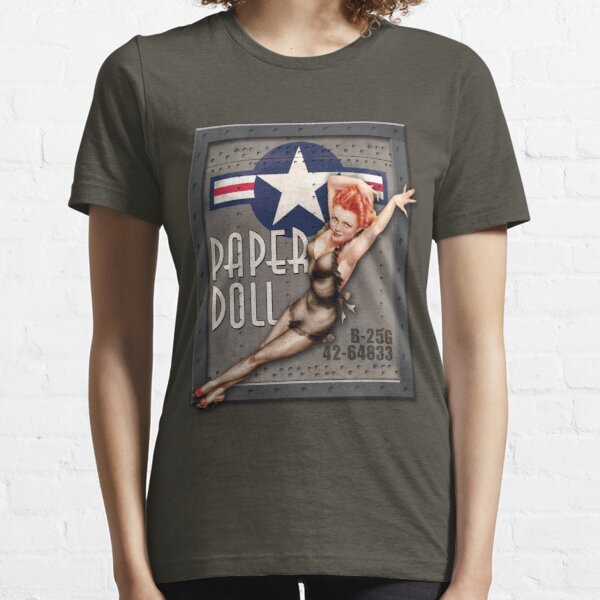 """""""Paper Doll"""" WWII Nose Art Essential T-Shirt"""