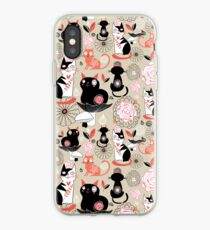 Floral pattern with cats iPhone-Hülle & Cover
