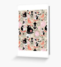 Floral pattern with cats Greeting Card