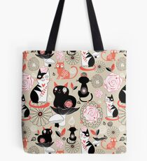 Floral pattern with cats Tote Bag