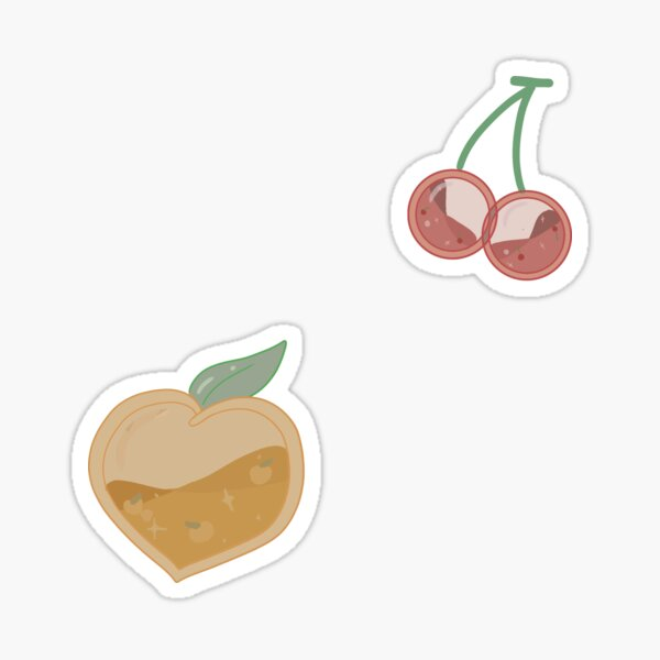 Peach and cherries Sticker