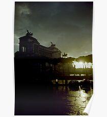 Altare della Patria under a storm at sunset Rome Italy artistic wall art - E' arrivato il Temporale Poster