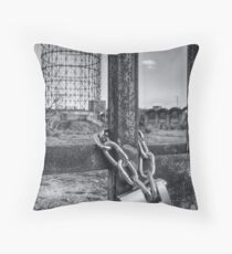 Industrial black and white architecture and chained gate - La Roma che non vedi Throw Pillow