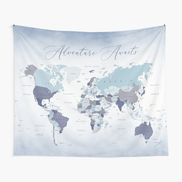 Adventure Awaits World Map in Blue Tapestry