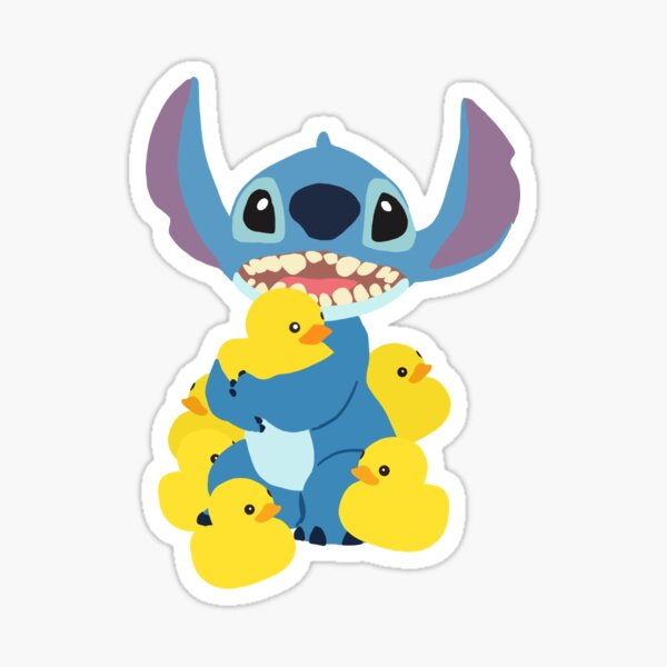 Stitch and his duckies Sticker
