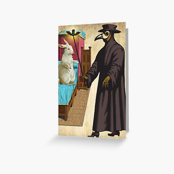 White Rabbit and the Plague Doctor Greeting Card