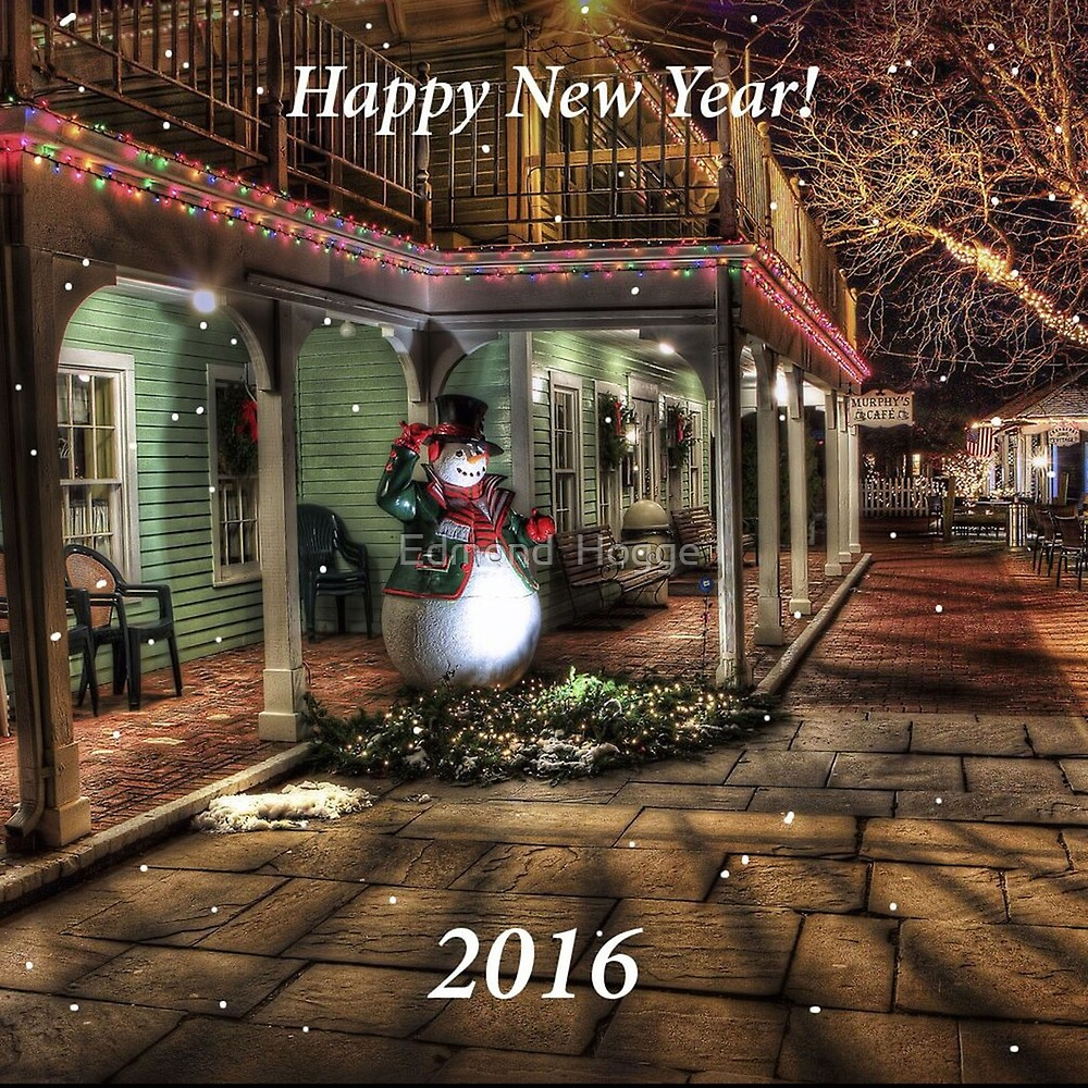 Happy New Year 2016 with Snowman by Edmond  Hogge