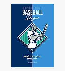 Baseball Hitter Batting Diamond Retro Photographic Print