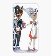 Retro Cats Having Tea iPhone Case/Skin