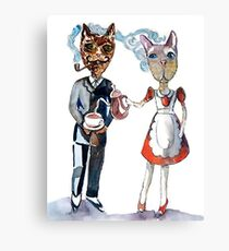 Retro Cats Having Tea Canvas Print
