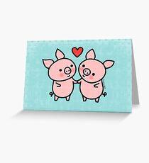 Little Pigs Valentine Greeting Card