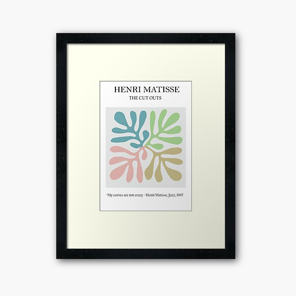Matisse pastel Cutout Poster, Henri Matisse Print, Matisse Exhibition Poster, Matisse Leaf Print, Matisse Curvs Framed Art Print