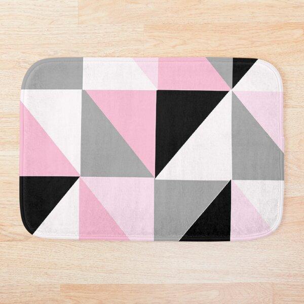 Pink, White, Gray and Black Geometric Pattern 4 Bath Mat