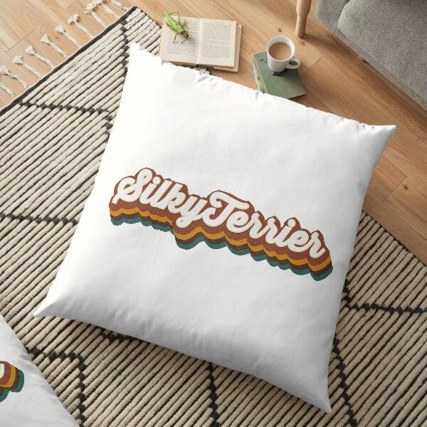 Silky Terrier Retro Text Art Floor Pillow