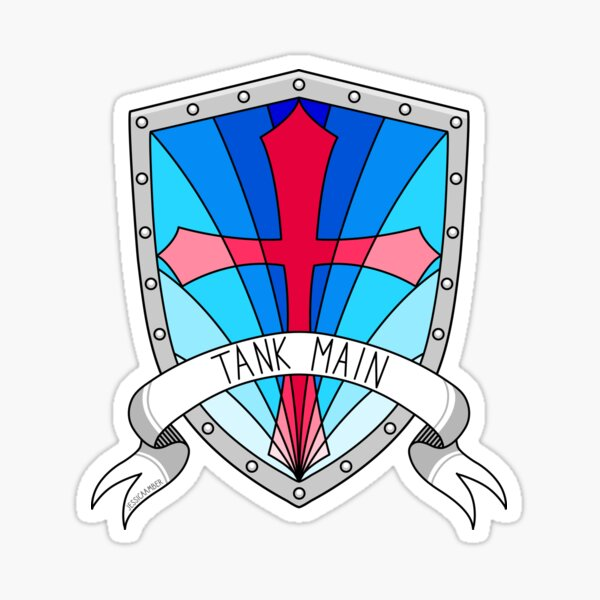 Tank Main | Gamer Art RPG FPS | Crusader Shield and Banner Sticker