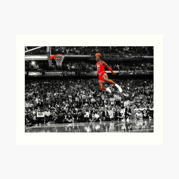 Arte de la pared del cartel de la clavada de Michael Jordan | Dunk de línea de tiro libre infame Lámina artística