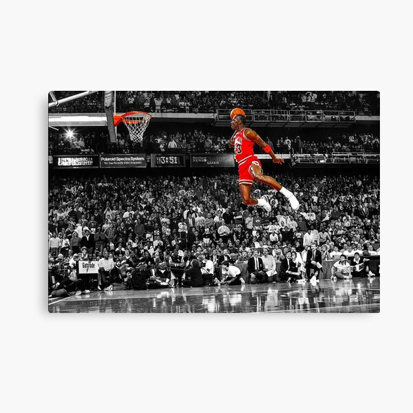 Michael Jordan Dunk Poster Wall Art Canvas | Infamous Free Throw Line Dunk   Canvas Print