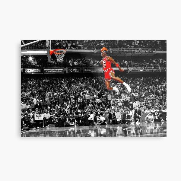 Michael Jordan Dunk Poster Wall Art Canvas   Infamous Free Throw Line Dunk   Metal Print