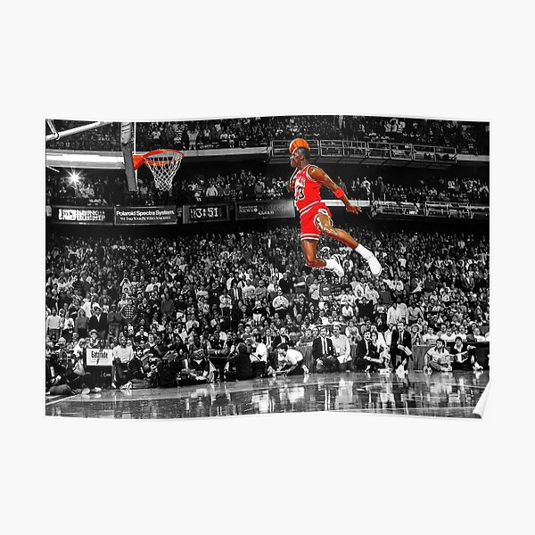Michael Jordan Dunk Poster Wall Art Canvas | Infamous Free Throw Line Dunk   Poster