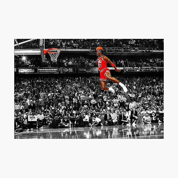 Michael Jordan Dunk Poster Wall Art Canvas | Infamous Free Throw Line Dunk   Photographic Print