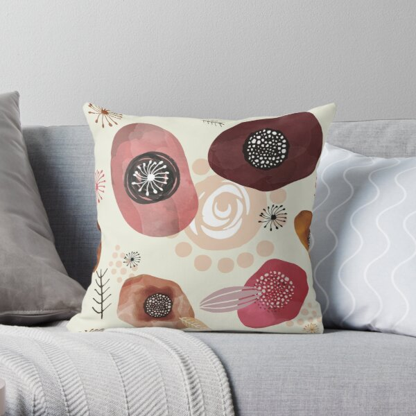 Dusty Flowers Throw Pillow