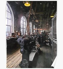 Heavy Machine Shop With Lamps Poster