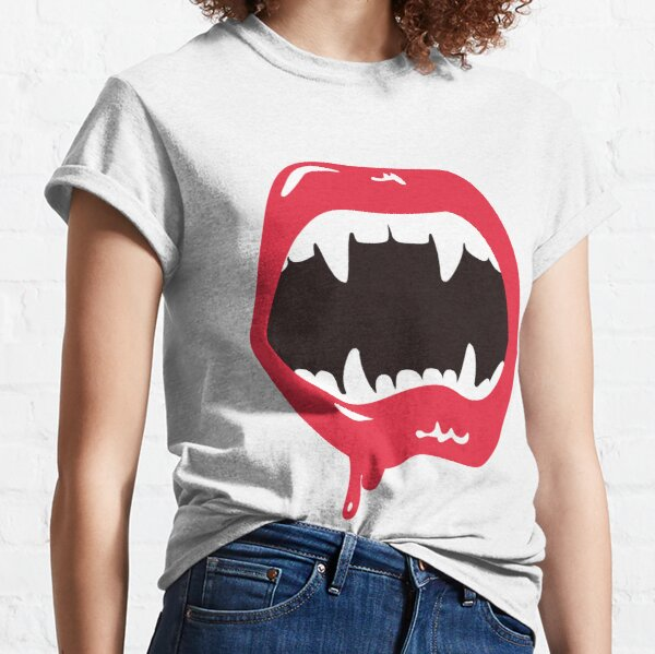 Spooky Scary Vampire Like Witch Creepy Horror Open Mouth Halloween Lips Classic T-Shirt