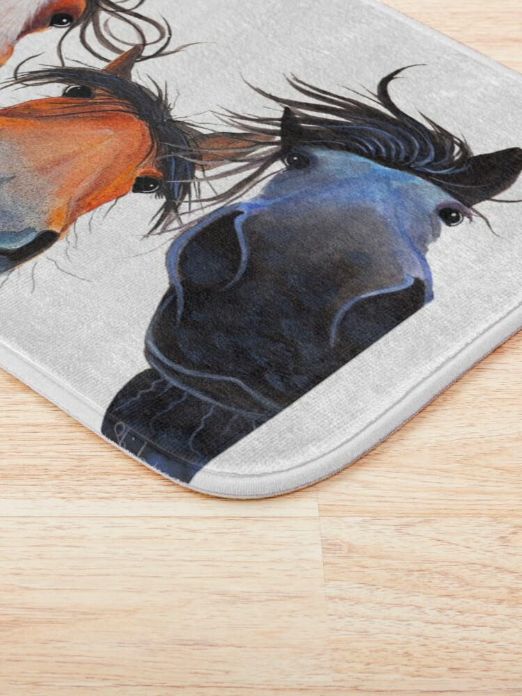 Alternate view of HaPPY HoRSe PRiNT ' WHo LeFT THe GaTe OPeN ? ' BY SHiRLeY MacARTHuR Bath Mat