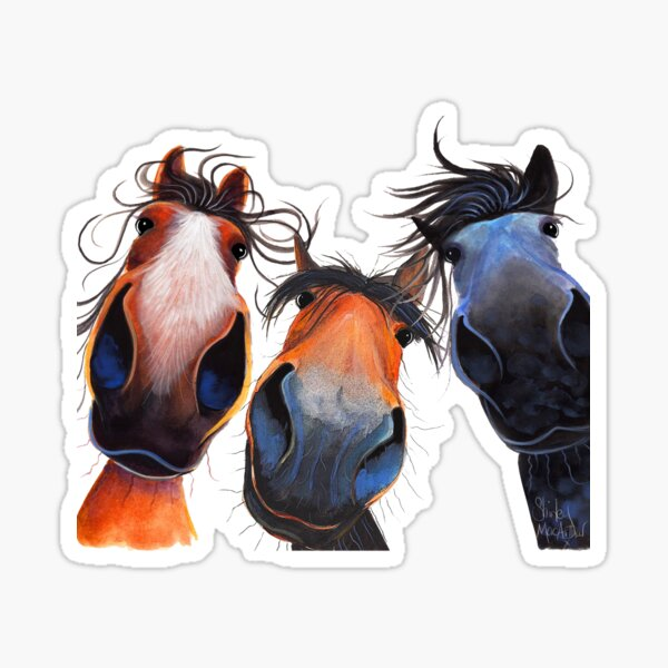 HaPPY HoRSe PRiNT ' WHo LeFT THe GaTe OPeN ? ' BY SHiRLeY MacARTHuR Sticker