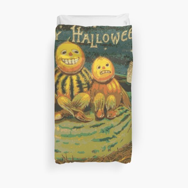 Happy Halloween Jack-O'-Lantern Trio Sitting On a Cucumber With Cute Girl Singing Duvet Cover